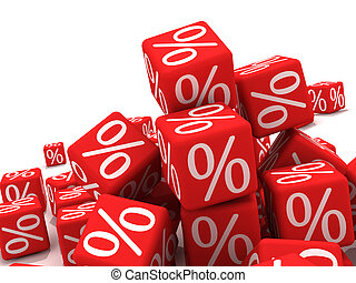 Discount - Symbols of percent on red cubes.