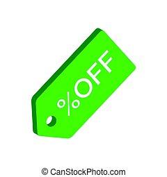 Discount tag symbol. Flat Isometric Icon or Logo.