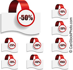 Discount tags on bent red ribbon vector collection.