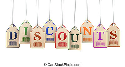 Discount tags on white isolated background. 3d