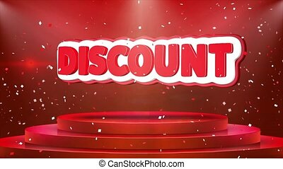 Discount Text Animation Stage Podium Confetti Loop Animation