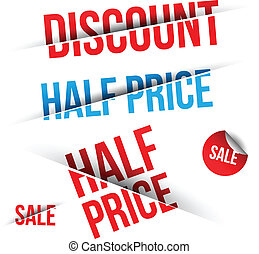 Discount text - Vector SALE cut on Black and White...