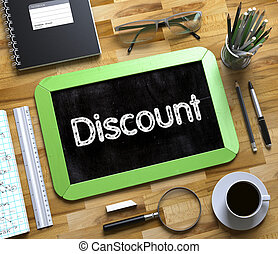 Discount - Text on Small Chalkboard. 3d.