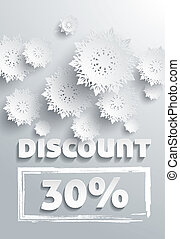 Discount text with numbers and snowflakes