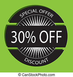 discount label on green background