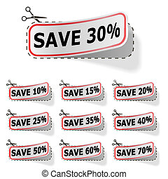 Discount vector labels with red frame isolated on white.