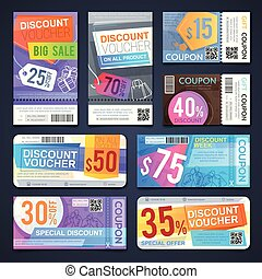 Discount voucher and cutting shopping coupons. Free sale...