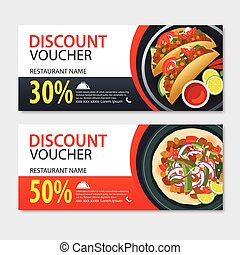 Discount voucher mexican food template design. Set of kebab