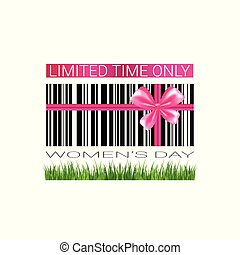 Discount Woman Day Badge Template Sale Seal Promotion Sticker With Bar Code