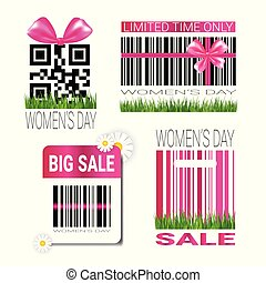 Discount Woman Day Badges Set Template Sale Seal Promotion Stickers With Bar Code