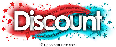 discount word in stars colored background