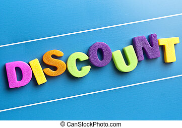 Discount word on blue board