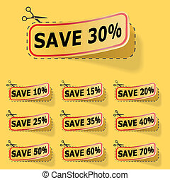 Discount yellow vector labels.
