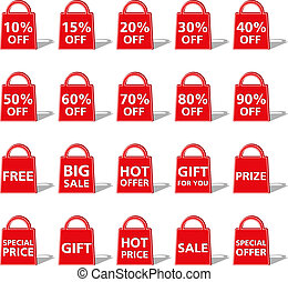 Abstract red bag icon with different offerts and discounts, vetor eps10 illustration