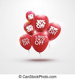 Discounts balloons with discount numbers