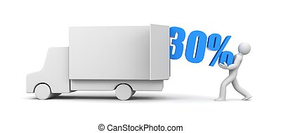 Discounts came! The man takes out 30% from truck. 3d illustration