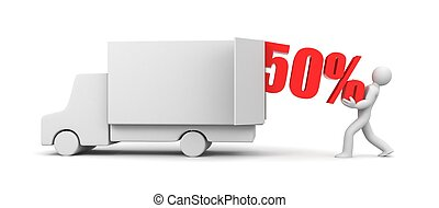 Discounts came! The man takes out 50% from truck. 3d illustration