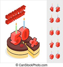 Discounts for birthday. Chocolate Cake and Candles and figures for sales. Piece of cake and cherry. Reducing cost of ake on day of birth. Dessert and set of isometric numbers