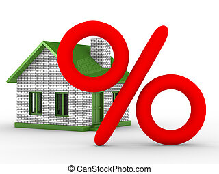 Discounts for real estate. Isolated 3D image