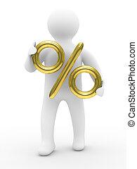 discounts., immagine, percento, isolato, person., 3d