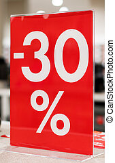 Discounts in the shopping center. 30 percent discount.