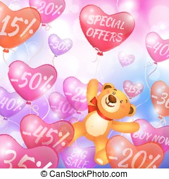 Discounts on flying in the form of hearts balls