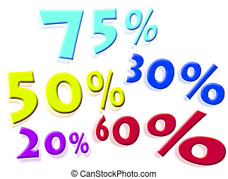 Discounts percentages on a white background