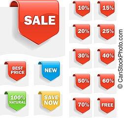 discounts., vente, ensemble, variété, étiquettes