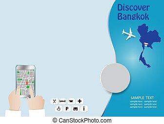 Discover Bangkok tourism tempate concept vector