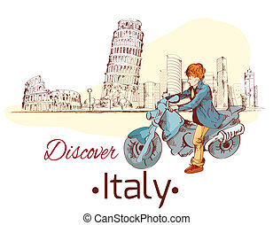 Discover Italy poster - Discover Italy sketch poster with...