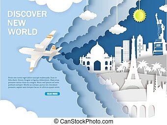 Discover new world web banner vector template
