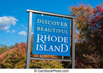 Discover Beautiful Rhode Island welcome sign
