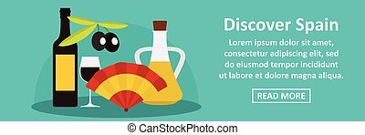 Discover spain banner horizontal concept