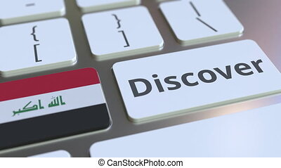 DISCOVER text and flag of Iraq on the buttons on the...