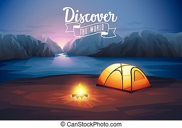 Discover the world poster, night landscape with tent.