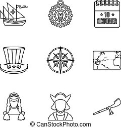 Discovery of America icons set, outline style