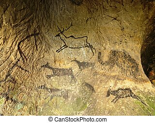 Discovery of prehistoric paint of caveman hunt in sandstone...