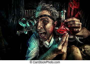 discovery - Portrait of a crazy medieval scientist working...