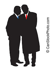 Discreet conversation - Two businessmen talking secretly ...