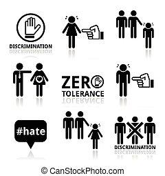 discriminação, jogo, parada, ícones