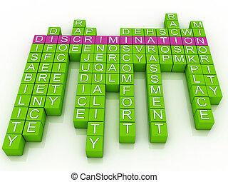 discriminación, nube, 3d, palabra, imagen