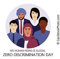 discriminación, o, anuncio, banner., tela, cero, derechos, igual, día