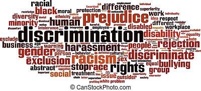 discriminación, palabra, nube
