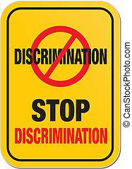 discriminación, parada, signo amarillo