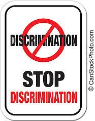 discriminación, parar la muestra