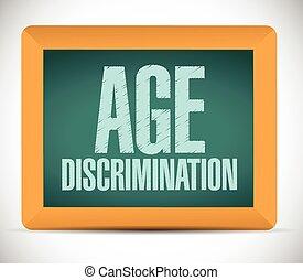 discriminación, tabla, señal, edad