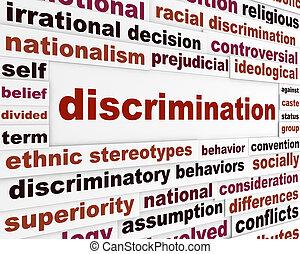 discriminatie, concept, uitgeven, sociaal