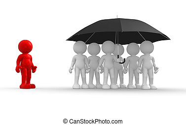 3d people - human character under an umbrella - discrimination. 3d render illustration