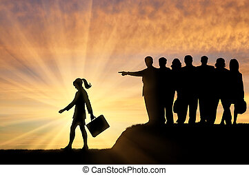Discrimination concept. Silhouettes of people crowd woman expelled from their society.