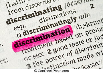 Discrimination Dictionary Definition single word with soft...